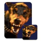 Angry Doberman Dog Premium Mousematt & Coaster Set