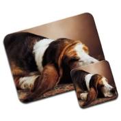 Basset Hound Sleeping Premium Mousematt & Coaster Set
