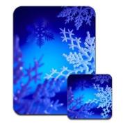 Beautiful Icy Snow Flakes in Winter Wonderland Premium Mousematt & Coaster Set