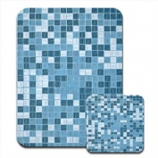 Blue White Mosaic Tile Pattern Premium Mousematt & Coaster Set