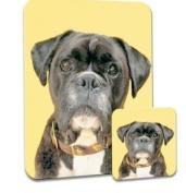 Boxer Dog Yellow Background Premium Mousematt & Coaster Set