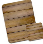 Cabin Wall Wood Lookalike Premium Mousematt & Coaster Set