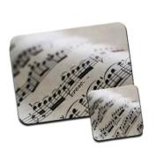 Close Up Detail of Beautiful Sheet Music Premium Mousematt & Coaster Set