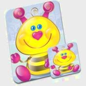 Cute Pink Heart Nose Bumble Bee Premium Mousematt & Coaster Set