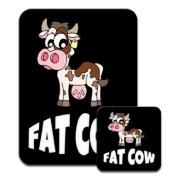 Fat Cow Funny Premium Mousematt & Coaster Set