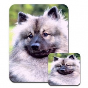 Keeshond Dog Premium Mousematt & Coaster Set