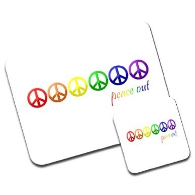 Peace Out Symbol in Rainbow Gay Lesbian Pride Colours Premium Mousematt &  Coaster Set