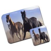 Three Horses Running In Sand Premium Mousematt & Coaster Set