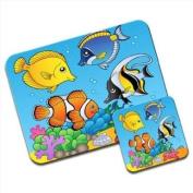 Under The Sea Clownfish Starfish Tropical Fish Premium Mousematt & Coaster Set
