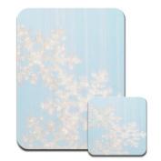 White Snow Falling Snowflakes Premium Mousematt & Coaster Set