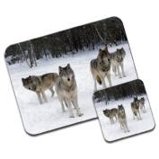 Wolves Premium Mousematt & Coaster Set