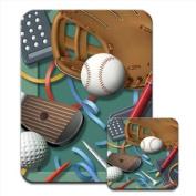 Work & No Play. Golf BaseballstationeryPremium Mousematt & Coaster Set