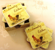 Set of 6 COUNTRY kitchen Coasters WITH ROOSTER CHICKEN