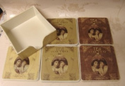 Set of 6 Victorian Tea for two Sepia coasters with holder