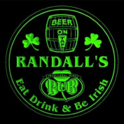 4x ccpa1527-g RANDALL'S Irish Shamrock Pub Ale Bar Beer Etched Engraved 3D Coasters