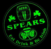 4x ccpa1717-g SPEARS Irish Shamrock Pub Ale Bar Beer Etched Engraved 3D Coasters