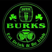 4x ccpa1928-g BURKS Irish Shamrock Pub Ale Bar Beer Etched Engraved 3D Coasters