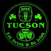 4x ccpa2083-g TUCSON Irish Shamrock Pub Ale Bar Beer Etched Engraved 3D Coasters