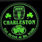 4x ccpa2260-g CHARLESTON Irish Shamrock Pub Ale Bar Beer Etched Engraved 3D Coasters
