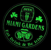 4x ccpa2294-g MIAMI GARDENS Irish Shamrock Pub Ale Bar Beer Etched Engraved 3D Coasters