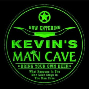 4x ccpb0023-g KEVIN'S Man Cave Cowboys Bar Beer Drink Etched Engraved 3D Coasters