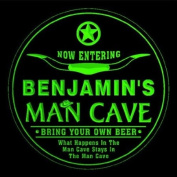 4x ccpb0066-g BENJAMIN'S Man Cave Cowboys Bar Beer Drink Etched Engraved 3D Coasters