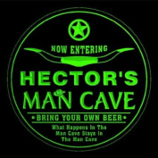 4x ccpb0189-g HECTOR'S Man Cave Cowboys Bar Beer Drink Etched Engraved 3D Coasters