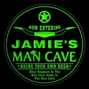 4x ccpb0233-g JAMIE'S Man Cave Cowboys Bar Beer Drink Etched Engraved 3D Coasters