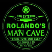 4x ccpb0468-g ROLANDO'S Man Cave Cowboys Bar Beer Drink Etched Engraved 3D Coasters