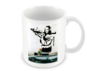 Printed Banksy Mug - Mona Lisa With Rocket Launcher