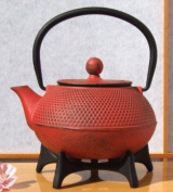 Star Trivet 125 & Tetsubin Japanese style Cast Iron Sunset Red hobnail tea pot kettle 0.6 litre