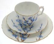 Vintage hand finished Crown Staffordshire blue floral design trio pattern F14601 / F14602