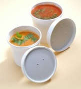 Deli Supplies 250 x 350ml Soup Container With Lid & Spoons Paper Cup Tub Pasta