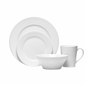 . 16pc Dinner Set White Embossed Porcelain Bowls Plates Mugs Kitchen Service Set