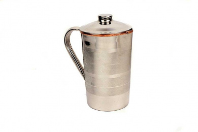 Pure Copper/Steel Water Jug With Lid For Good Health.