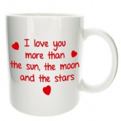 'I Love You More Than' Romantic Mug - MugsnKisses Collection - Each Mug Includes Free Chocolate Kiss! - Valentines Day Tea Coffee Gift Mug