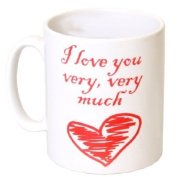 """""""I Love You Very, Very Much"""" Red Heart Romantic Mug - MugsnKisses Collection - Each Mug Includes Free Chocolate Kiss!"""