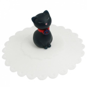White Soft Silicone Cup Cover Lid- Cartoon Cat Design