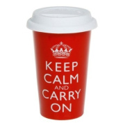 Keep Calm and Carry On - Double Walled Ceramic Travel Mug