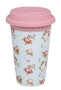 Katie Powell Forever England Martha Rose Floral Girlie Travel Mug - Green and Pink Floral
