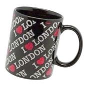 Elgate Ceramic Mugs I (heart) London Design In Glitter Finish Black