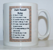 Jack Russell Rules' Novelty Dog Breed Printed Tea/Coffee Mug - Ideal Gift/Present