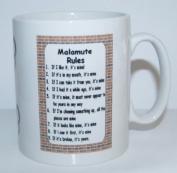 Malamute Rules' Novelty Dog Breed Printed Tea/Coffee Mug - Ideal Gift/Present