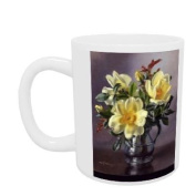 AB96 Yellow Roses in a Tankard by Albert.. - Mug - Standard Size