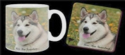 "Alaskan Malamute Dog ""Love You Grandma..."" Grandparents Day Sentiment 330ml Mug and Coaster Gift Set"