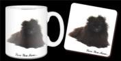 "Black Pomeranian Dog ""Love You Mum..."" Mothers Day Sentiment 330ml Mug and Coaster Gift Set"