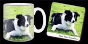 "Border Collie Dog ""Love You Grandma..."" Grandparents Day Sentiment 330ml Mug and Coaster Gift Set"