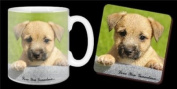 "Border Terrier Puppy ""Love You Grandma..."" Grandparents Day Sentiment 330ml Mug and Coaster Gift Set"