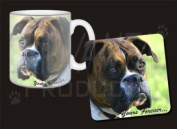 "Brindle and White Boxer Dog ""Yours Forever..."" Mug and Coaster Set Gift, Ref:AD-B27yMC"