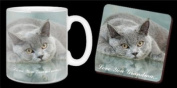 """British Blue Cat with """"Love You Grandma"""" 330ml Mug and Coaster Mothers Day Gift Set"""